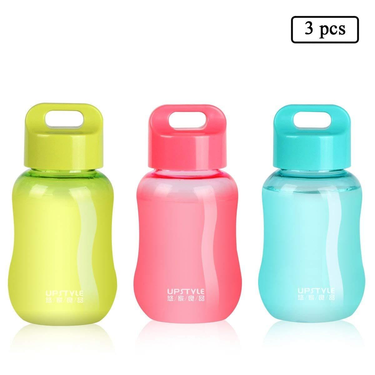 UPSTYLE - Minibotellas de viaje de plástico para viaje, para café, agua, deportes, leche, café, té, zumo, tamaño 180 ml, plástico, Pack of 3, ...