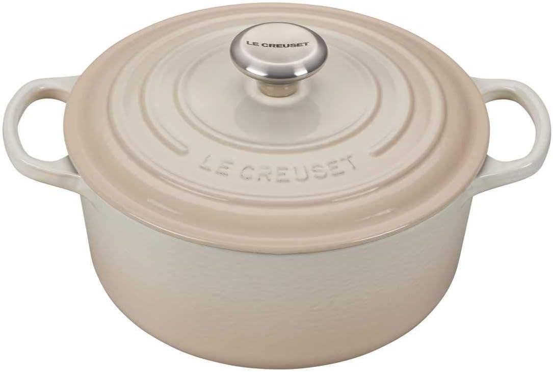 Le Creuset LS2501-24716SS Signature Round Dutch Oven, 4.5 qt, Meringue