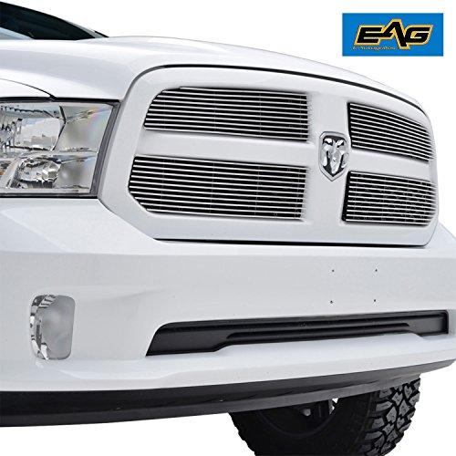 Billet Grille Insert Grill Overlay - EAG Billet Grille Upper Grill Insert Front Overlay Aluminum for 13-14 Dodge Ram 1500