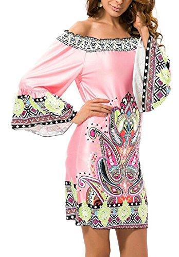 Bell Women's Print Off Boho 1 Jaycargogo Boho Bohemian Mini Long Shoulder Dress Sleeve 4UgWXq