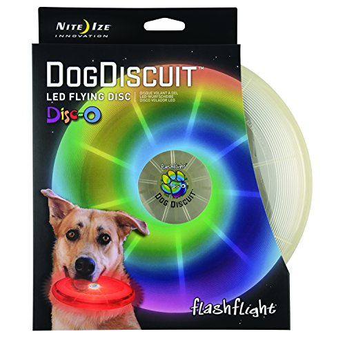 Flying Travel Disc - Nite Ize Flashflight Dog Discuit, Light Up Dog Flying Disc, Disc-O Color Changing LED