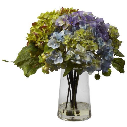 Nearly Natural 4935 Hydrangea with Glass Vase Arrangement, Green/Lavender