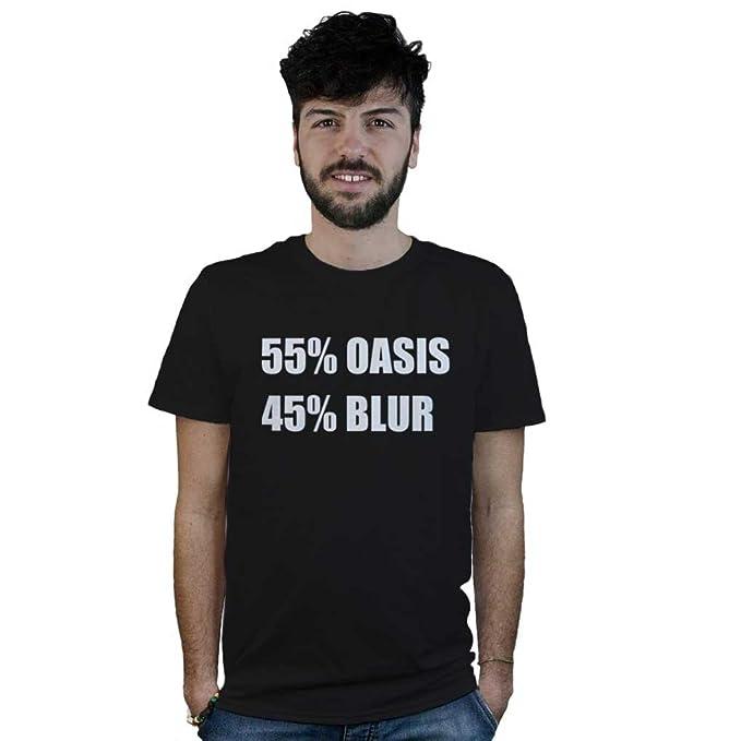 Scritta T 45BlurMaglietta Nera Rock Shirt 55Oasis Con nwO0Pk