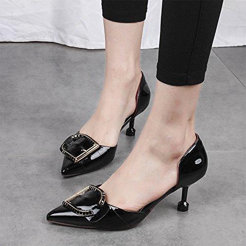 ZHANGJIA tacchi scarpe esercitazione sono le black i metallo le gatto 35 donne e di sottile joker i alti tacchi xrCXw0r1Rq