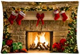 Funny Peaceful Christmas Eve Fireplace Zippered Pillow Protector 20x30 inch (one side)