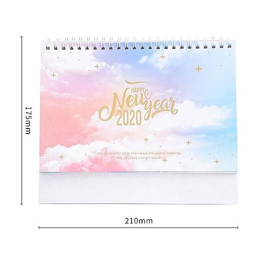 ZXF Calendario del año 2019-2020 Elegante Calendario de decoración ...