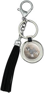 Schnauzer Chien rond en métal chromé Cuir Tassel Porte-clés