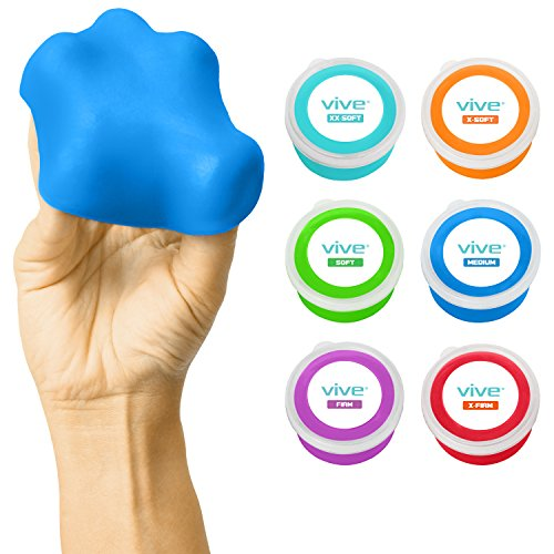 Vive Exercise Putty - Therapeutic, Occupational and Therapy Tool - Thinking and Stress - Finger, Hand Grip Strength Exercises - Extra Soft, Soft, Medium, Firm (6 Pack)