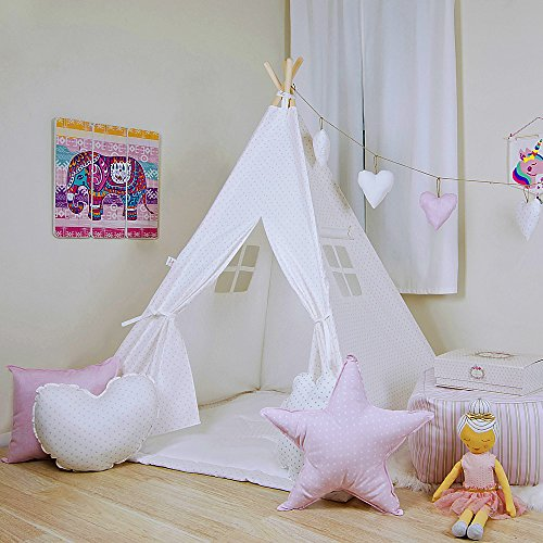 Kids Teepee Tent Comes with a Set of 4 Fun Shaped Pillows, and a Comfy Mat. Bella W/White Mini Dots Teepee Set, Handcrafted Teepee for Kids by Teepee Joy