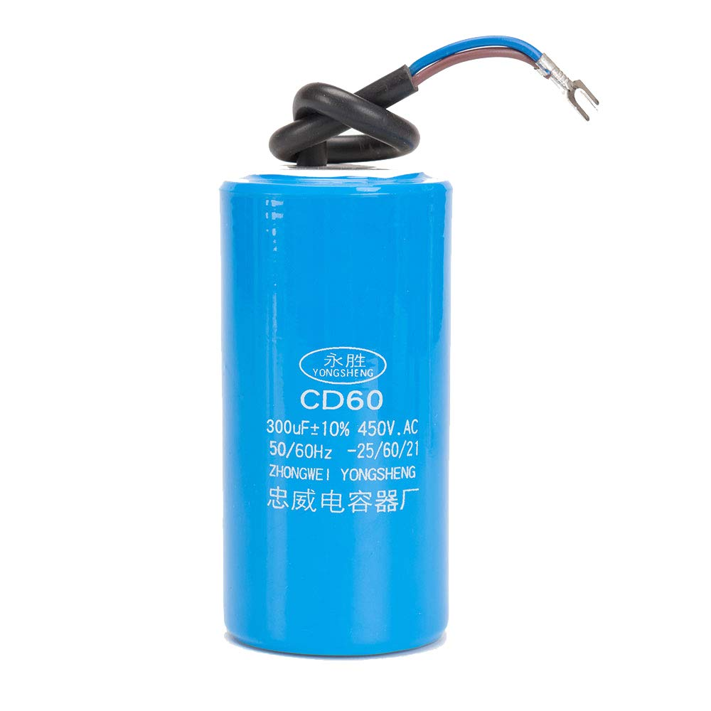 60 Hz operaci/ón de Bomba de Motor ICQUANZX 300UF Condensador de Motor de Arranque de Motor para operaci/ón CD60 con Cable de 450 VCA para Arranque de Motor de CA a 50 Hz
