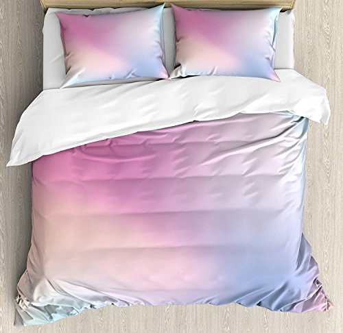 Anzona Twin Size Pastel 3 PCS Duvet Cover Set, Abstract Blurry Colors Composition Sweet Daydream Fantasy Miscellaneous, Bedding Set Bedspread for Children/Teens/Adults/Kids, Pink Aqua Peach White