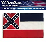 Mississippi State Flag - Embroidered Stars and Sewn Stripes, Long Lasting Nylon Perfect for Outdoor Use, Sturdy Brass Grommets, UV Protected,Tough-Tex the Strongest US Flags Mississippi