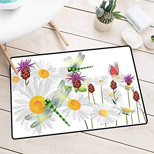 Large Size Entry Mat, Dragonfly, Daisy Flower Field with Chamomile and Butterflies Grassland Elegance Design, Fern Green White, 15.5