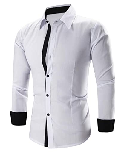 462c371a427 Image Unavailable. Image not available for. Color  MLG Men s Trendy Slim  Fit Contrast Long Sleeve Formal Shirts White S