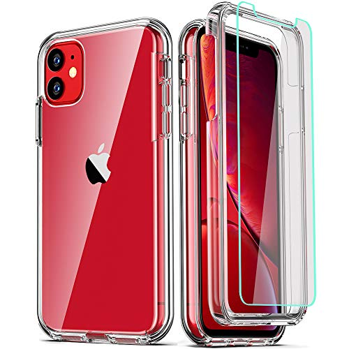 COOLQO Compatible for iPhone 11 Case, with [2 x Tempered Glass Screen Protector] Clear 360 Full Body Coverage Hard PC+Soft Silicone TPU 3in1 [Heavy Duty Shockproof Defender] Phone Protective Cover