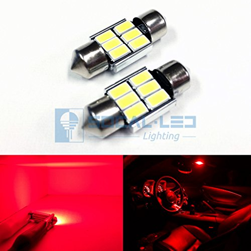 SOCAL-LED 2x 3022 31mm Festoon LED Bulbs Canbus 6W High Power Bright SMD 5730 Interior Dome Light, Map Light, Red Red Festoon