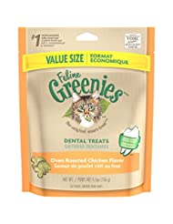FELINE GREENIES Dental Treats for Cats Oven Roasted Chicken F...