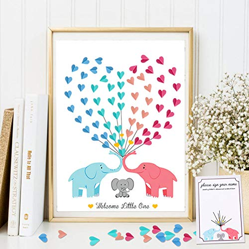 OurWarm Elephant Baby Shower Guest Book with Guide Card Unframed, Creative DIY Guest Signing Canvas for Boy or Girl Gender Reveal Party Supplies Baby Show Decoration, 16'' x 24'' ()
