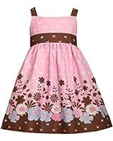 Bonnie Jean Little Girls 2T-6X Pink Brown Butterfly Floral Border Print Dress