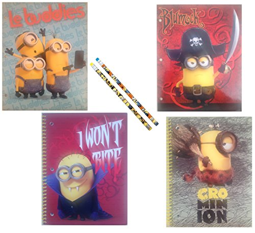 Licensed Character School Supplies Bundle of 6 Items: Pocket Folders, Spiral Notebooks, Pencils (Despicable Me Minions) -