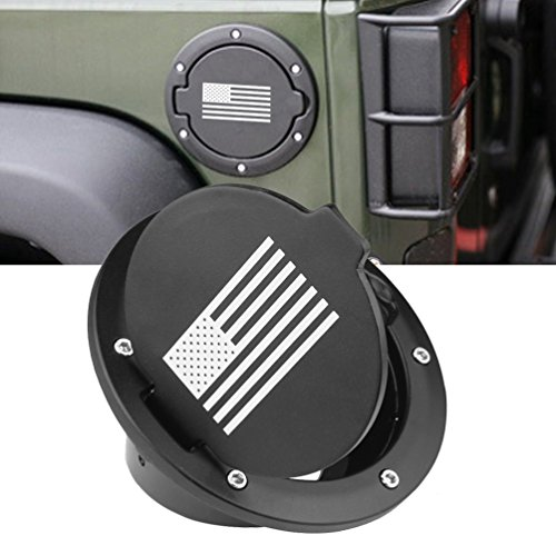 MINGLI Black Fuel Tank Cap for 2007-2018 Jeep Wrangler JK & Unlimited 4 Door 2 Door Fuel Filler Door Cover Gas Tank Cap