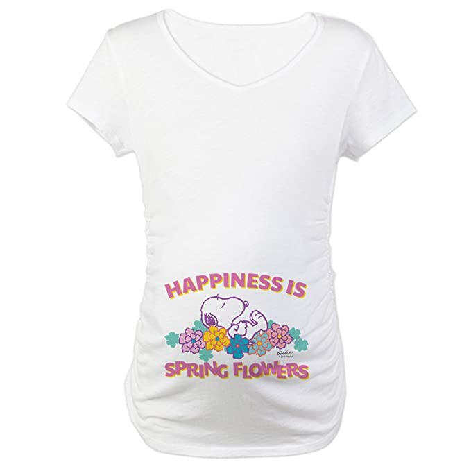 19610d565bf3e CafePress Snoopy Flowers Cotton Maternity T-Shirt, Cute & Funny Pregnancy  Tee White