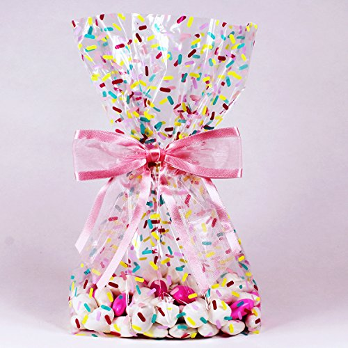 Donut Sprinkles Cellophane Treat/Party Favor Bags with Hot Pink Twist-Tie Organza Bow. Set of 10 Ready-to-Use, Gussetted 11x5x3 Goodie Bags with Bows. Multi-Color