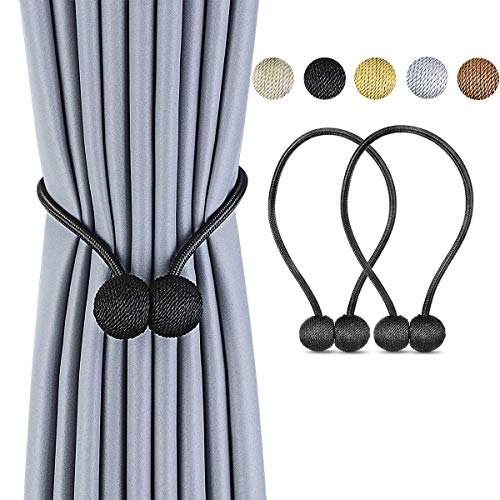 SPLF Magnetic Curtain Tiebacks with Unique Wooden Balls, 2 Pack Decorative Drapery Holdbacks Rope Holder for Home Kitchen Window Sheer Blackout Drapes, - Holdback Curtain Large