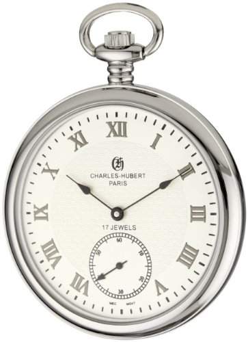 Charles-Hubert, Paris 3912-W Premium Collection Stainless Steel Pocket Watch by Charles-Hubert, Paris