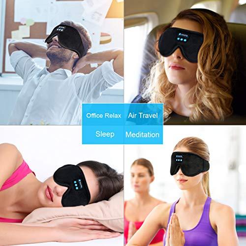 Sleep Headphones, 3D Sleep Mask Bluetooth 5.0 Wireless Music Eye Mask, LC-dolida Sleeping Headphones for Side Sleepers, with Ultra-Thin HD Stereo Speakers Perfect for Sleeping, Air Travel, Meditation