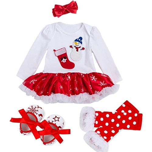 Bigface Up Baby Girls My First Christmas Costume Party Dress Tutu Outfits 4PCS Set(Snowman L)