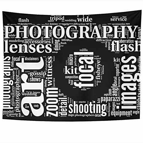 Ahawoso Tapestry 60x50 Inches Nature Photography Vintage Camera Tag Cloud Photographer Wall Hanging Home Decor Tapestries for Living Room Bedroom Dorm