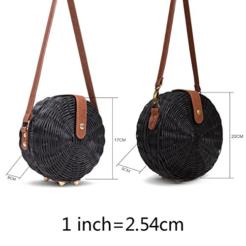 Bag Woven bag Rattan Summer Tick Girls Beige Circular Women Bag Tocking Straw Round Beach wItUTtv7q