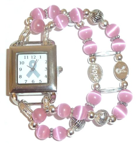 Awareness - Watch - Breast Cancer Awareness watch with Pink Beads (Cancer Awareness Breast Beading Watch)