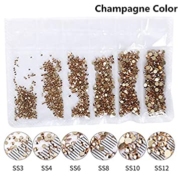Amazon.com  1 Pack Flatback Glass Nail Rhinestones Mixed Sizes SS3-SS12  Nail Art Decoration Stones Shiny Gems Manicure Accessories Tools Champagne  Color  ... baecc2d7dcc3