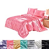 Monkeysell 4-Piece Solid Color Satin Silky Bed Sheet Set...