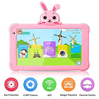 Tablet for Kids, Kids Tablet for Toddler 7 inch HD IPS Display 1G+16GB Quad Core Android 9.0 Tablet with WiFi Camera Safety Eye Protection Parental Control Kids Learning Tablet (Rosered)