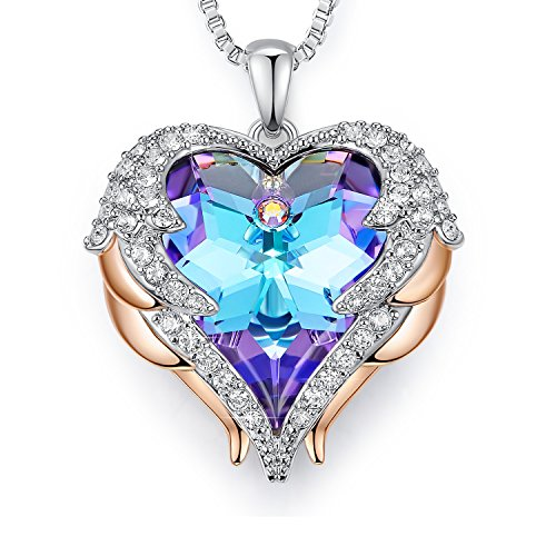 EleShow Love Heart Pendant Necklace Wings Wrap Jewelry Swarovski Crystal Gift for Women (1.Purple and Blue)