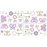 Butterfly Pink and Purple Wall Decal Stickers by Sweet Jojo Designs - Set of 4 Sheets