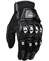 ILM Alloy Steel Knuckle Motorcycle Gloves Motorbike Powersports Racing Tactical Paintball (L, BLACK)