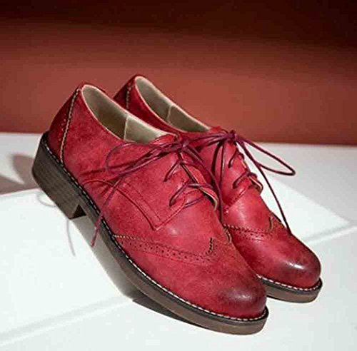Round Women's Top Stitching Red Lace Oxfords Low Low Retro Heel Easemax Toe Up qtZdtw