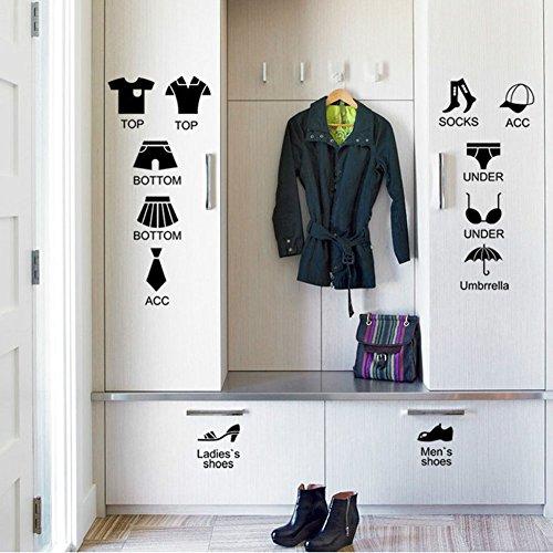 Fangeplus(TM) DIY Removable Cartoon Clothes Storage Mark ...
