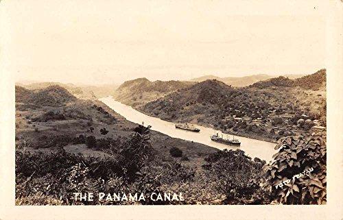 Postcard View Birdseye (Panama Canal Birdseye View Ships River Real Photo Antique Postcard K68440)