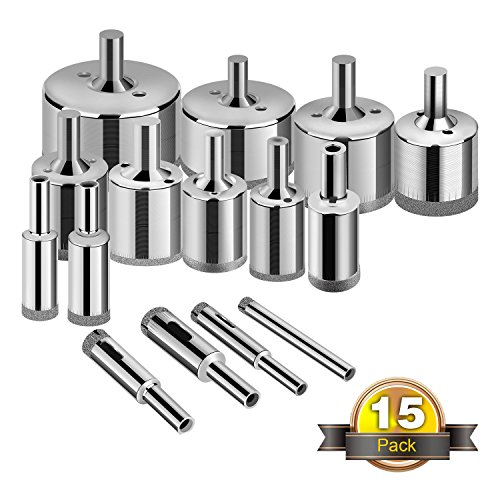 Glass Drill Bits - 15pcs Diamond Coating Hole Saw Drill Bit for Glass, Ceramics, Porcelain, Ceramic Tile, Marble, Granite, 6-50mm Kit Set Hollow Core Extractor Remover (Marble And Granite Tile)