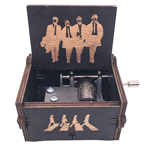 The Beatles Music Box Hand Crank Musical Box Carved Wood Musical Gifts,Play Let it Be (Black)