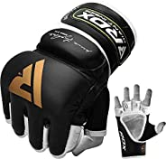 RDX MMA Gloves for Grappling Martial Arts, Open Palm Genuine Cowhide Leather, Padded Sparring Mitts for Kickbo