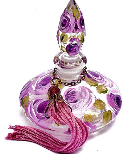 Perfume Bottle Elegant (Small Glass Genie Refillable Empty Perfume Bottle with Stopper and Hand Painted Lavender Roses)