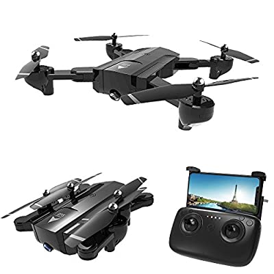Foldable FPV WiFi Drone 120°Wide-Angle 720P/1080P HD Camera Quadcopter Drone with Trajectory Flight Altitude Hold Flips Headless Mode One Key Return App Control by Wenjuan