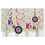 Chic Sweet Sixteen Birthday Celebration Value Pack Swirl Party Decoration (12 Pack), Multi Color, .