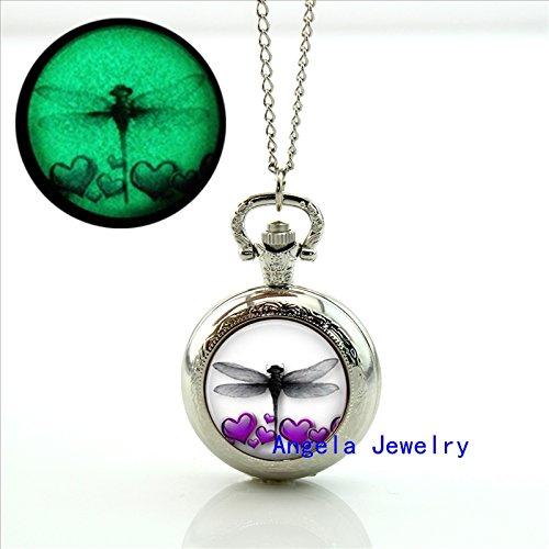 Pretty Lee Fashion Glow in The Dark Purple Hearts Dragonfly Locket Necklace Dragonfly Antique Pocket Watch - Biltmore Fashion